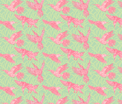 Pink hummingbirds and leaf pattern fabric by threebearsprints on Spoonflower - custom fabric