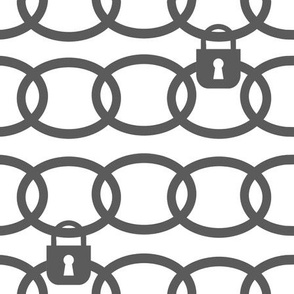 Grey Gray Chains Links Pad Lock Repeat Geometric Design