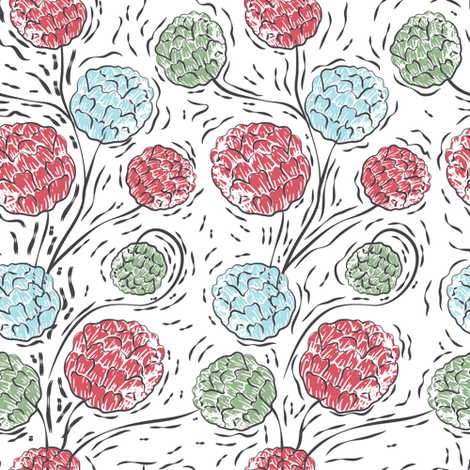 Pompom Posies - December Colorway fabric by diane555 on Spoonflower - custom fabric