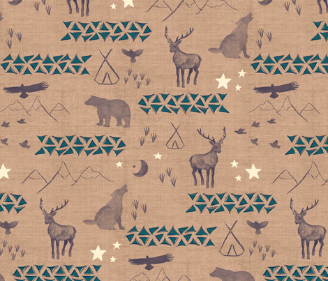 Watercolor Woodland Linen fabric by mrshervi on Spoonflower - custom fabric