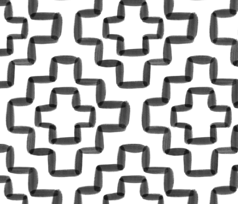Black watercolor geometric - 12 inch repeat - White background fabric by howjoyful on Spoonflower - custom fabric