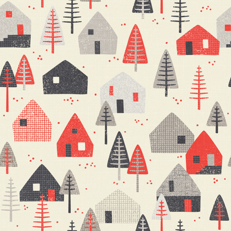 *New* alpine chalet // by petite_circus fabric by petite_circus on Spoonflower - custom fabric