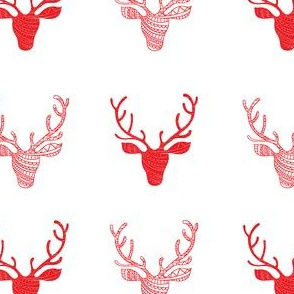 Hipster Deer Heads Red and White