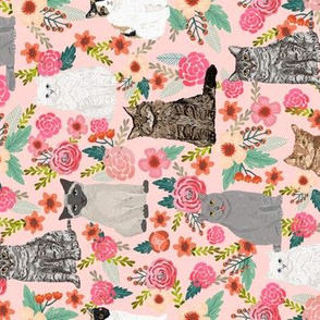 cat garden flowers florals sweet cats cat lady sweet grey cat cute pet cats watercolor vintage flowers florals