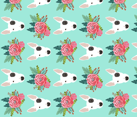 Bull Terrier floral flowers bull terriers fabric cute nursery baby girls fabric fabric by petfriendly on Spoonflower - custom fabric