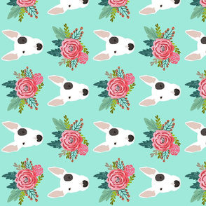 Bull Terrier floral flowers bull terriers fabric cute nursery baby girls fabric