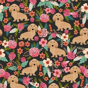Floral Doxie Dachshunds Fabric Cute Design Florals Dogs