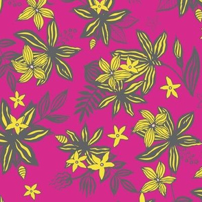 Tropical Flower - hot pink & canary yellow