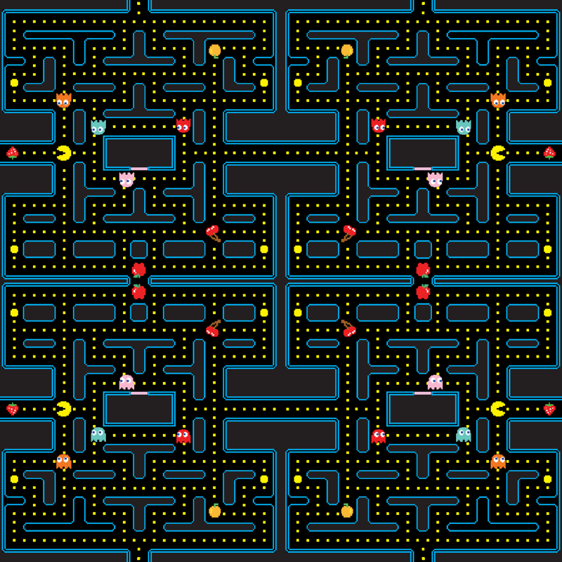 Pacman Retro Video Game Pattern Wallpaper Khaus Spoonflower New Pacman Pattern