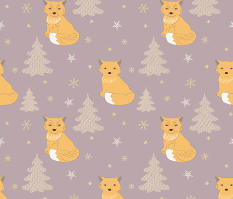 Foxy purple dreams fabric by maria_minkin on Spoonflower - custom fabric