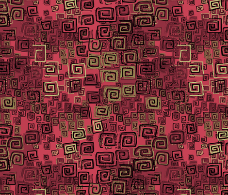 square spirals-red, gold and black fabric by designed_by_debby on Spoonflower - custom fabric