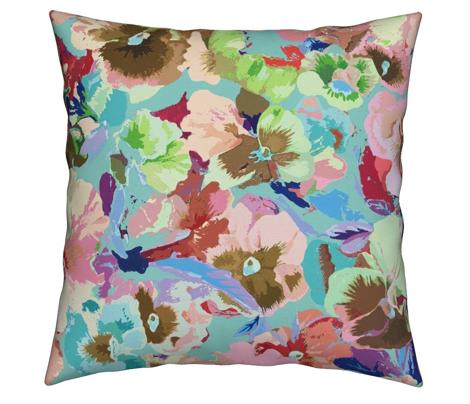 painted pretty pansies - aqua