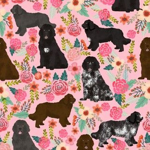 newfoundland dogs fabric dog florals fabric cute black landseer brown and grey newfoundlands