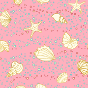 ditzy shells - pink and gold