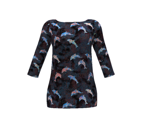 dancing dolphins - black with coral and blue