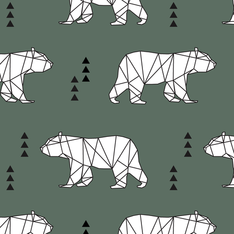 geometric bear || dark sage fabric by littlearrowdesign on Spoonflower - custom fabric