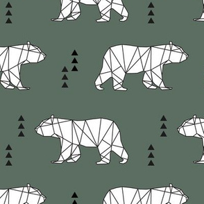 geometric bear || dark sage