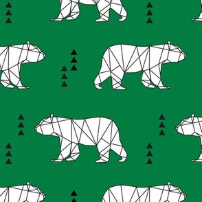 geometric bear || kelly green