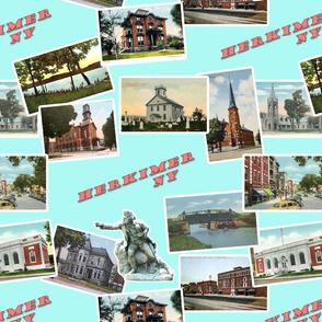 Herkimer, NY Vintage Postcards- Aqua