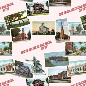 Herkimer, NY Vintage Postcards- Pink