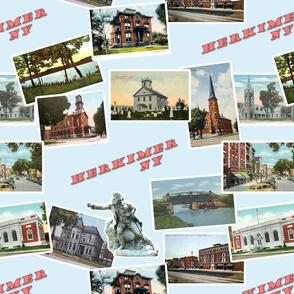 Herkimer, NY Vintage Postcards- Blue