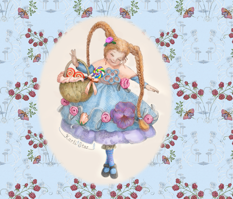 Butterflies, Raspberries and Karli Star on Peaceful Blue fabric by nancy_lee_moran_designs on Spoonflower - custom fabric