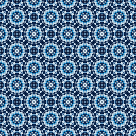 Flower Wheel in antique blues fabric by ruth_cadioli on Spoonflower - custom fabric