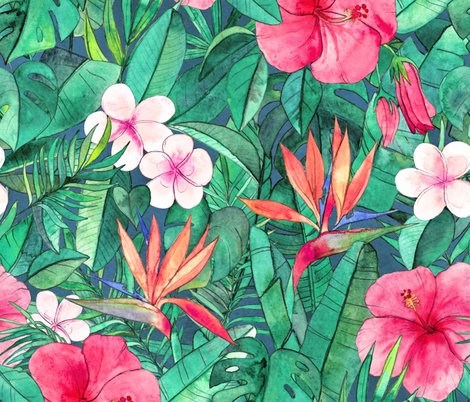 Classic Tropical Floral With Pink Flowers Large Wallpaper Micklyn
