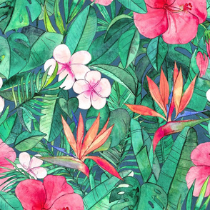 Classic Tropical Floral with Pink Flowers large
