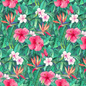 Classic Tropical Floral with Pink Flowers small