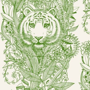 Tiger Tangle Stripes in Green and Cream