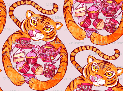 Tiger's Tea Party on Pink