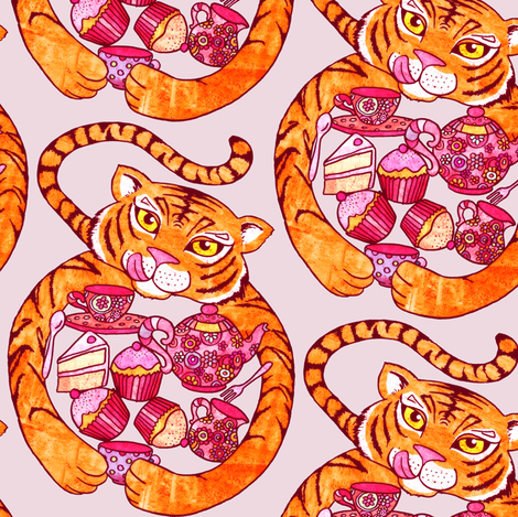 Tiger's Tea Party on Pink fabric by micklyn on Spoonflower - custom fabric