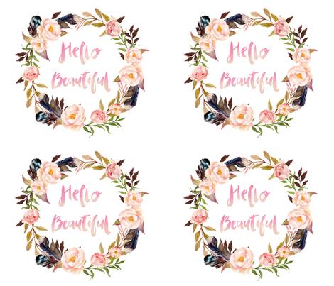 Hello Beautiful - 4 to 1 Fat Quarter fabric by shopcabin on Spoonflower - custom fabric