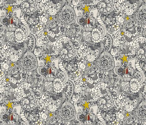 christmas robin tree fabric by scrummy on Spoonflower - custom fabric