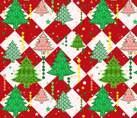 Festive Holiday Trees fabric by gnarllymamadesigns on Spoonflower - custom fabric