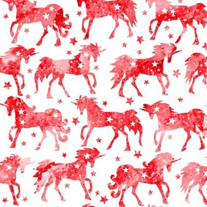 Red Christmas Unicorns - white