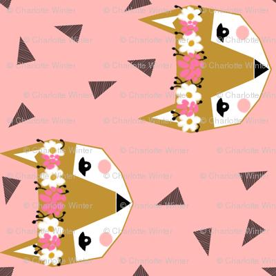 fox flower crown pink spring cute girly nursery baby