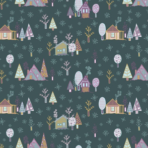 Cozy Mountain Log Cabin with Snowflakes