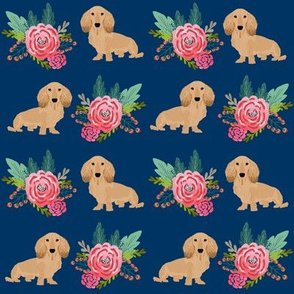 doxie dog cute dachshunds florals floral wreath cute dogs dog fabric cute dogs navy blue