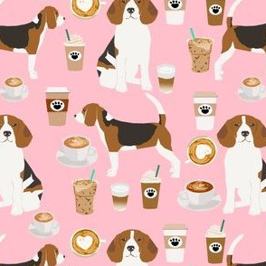 beagle coffee pink fabric cute pet dog latte iced coffees fabric