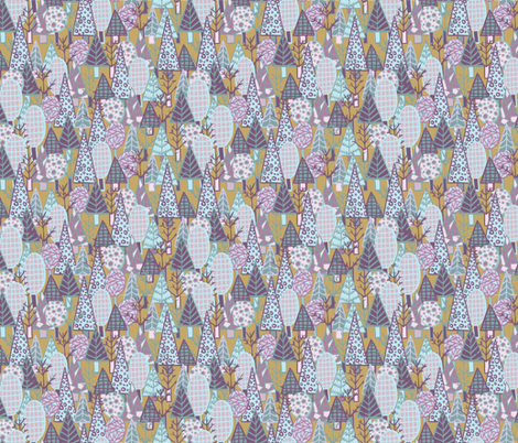 Into the Woods Patterned Tree Forest fabric by laine_and_leo on Spoonflower - custom fabric