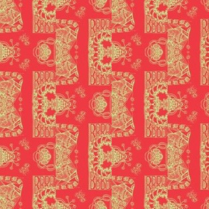 Pastel Lime Green on Red, a Whimsical Wayward Stripe