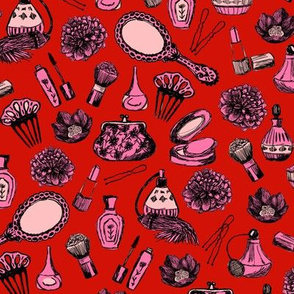 vintage beauty // red and pink valentines beauty girls makeup fabrics cute love fabric