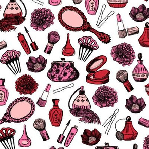 vintage makeup // beauty brush florals nails lipstick cute girls fabrics