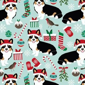 corgi christmas tri colored christmas fabric mint red and green fabrics