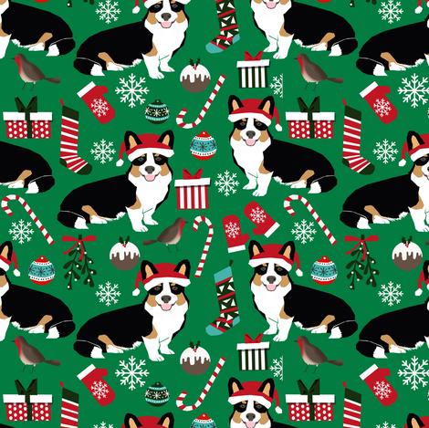 corgi christmas cute tri colored christmas corgis mittens candy cane xmas holiday xmas  fabric by petfriendly on Spoonflower - custom fabric