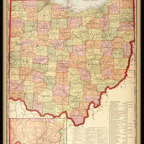 Ohio map, vintage, small
