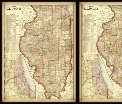 Illinois map vintage small fabric svester spoonflower illinois map vintage small fabric by svester on spoonflower custom fabric gumiabroncs Image collections