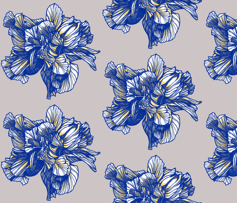 Hibiscus_Fabric_Delft_Yellow_centered fabric by brownwilliam_llc on Spoonflower - custom fabric